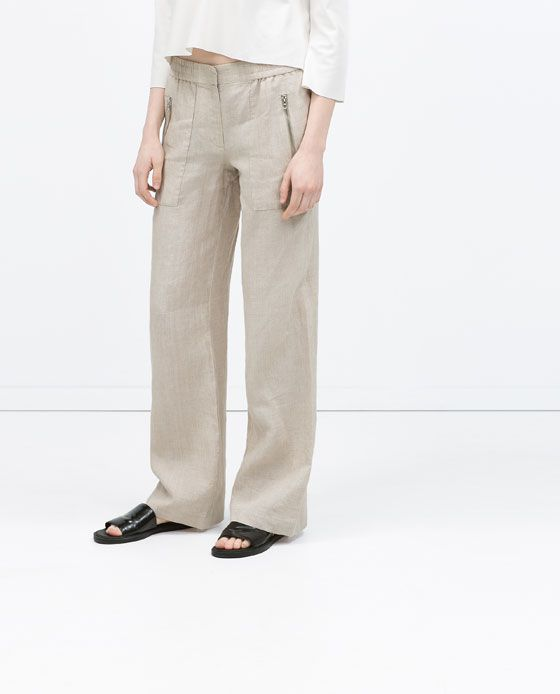 73d79897 Image 3 of LINEN TROUSERS WITH ELASTIC WAIST from Zara ...