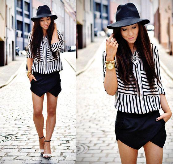 Zlz Striped Blouse, Sheinside Black Shorts, I Clothing Monochrome Strappy Sandals