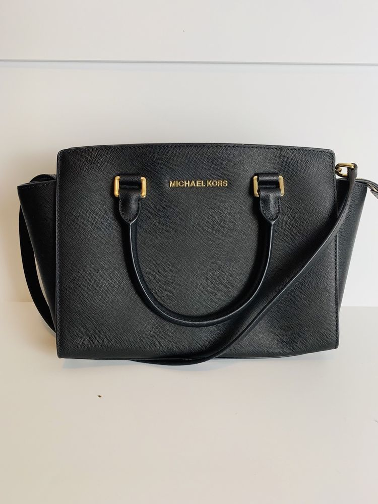 Used Michael Kors Black Leather Bag Medium Selma Gold
