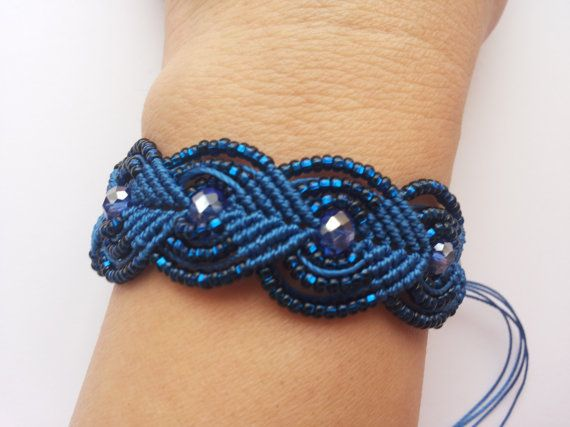 Blue micro macrame bracelet