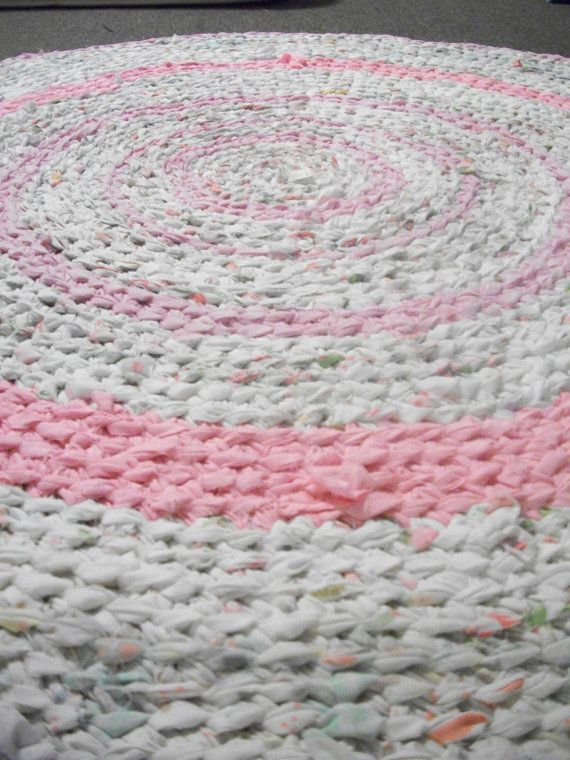 Pink Floral and White 4 ft in Diameter Crochet by CreationsByFive, $200.00