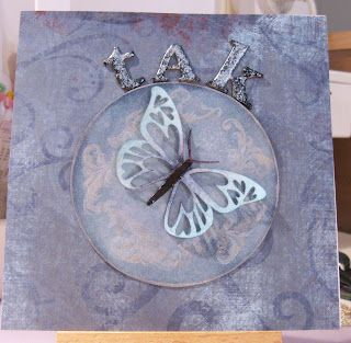 Handmade card with the heartwinged butterfly, cut from a Silhouette.