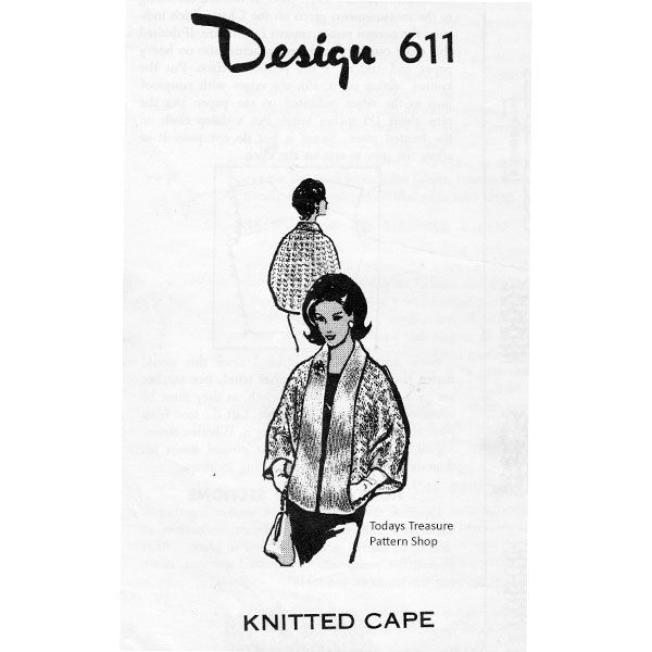 Knitted Cape Pattern with pockets l Mail Order Design 611