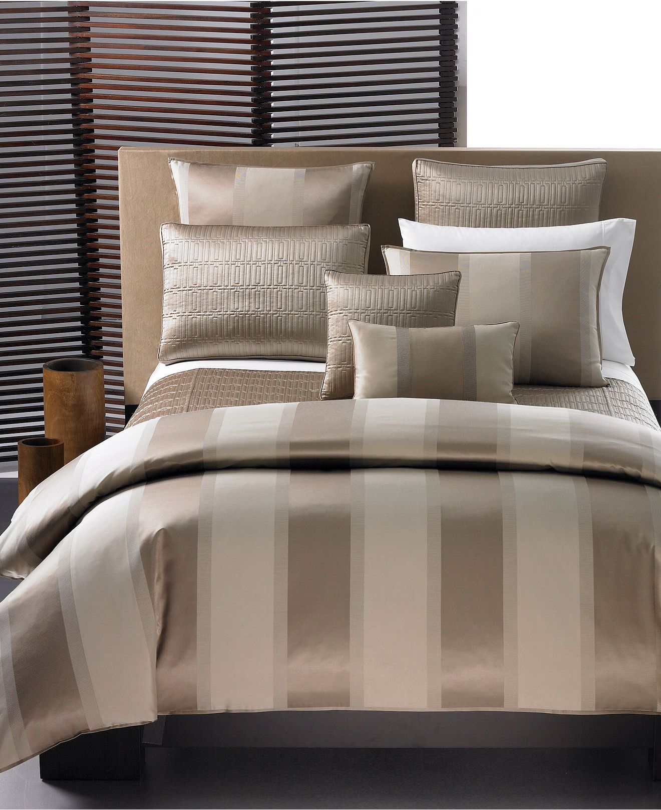 Closeout Hotel Collection Wide Stripe Bronze Bedding Collection Bedding Collections Bed