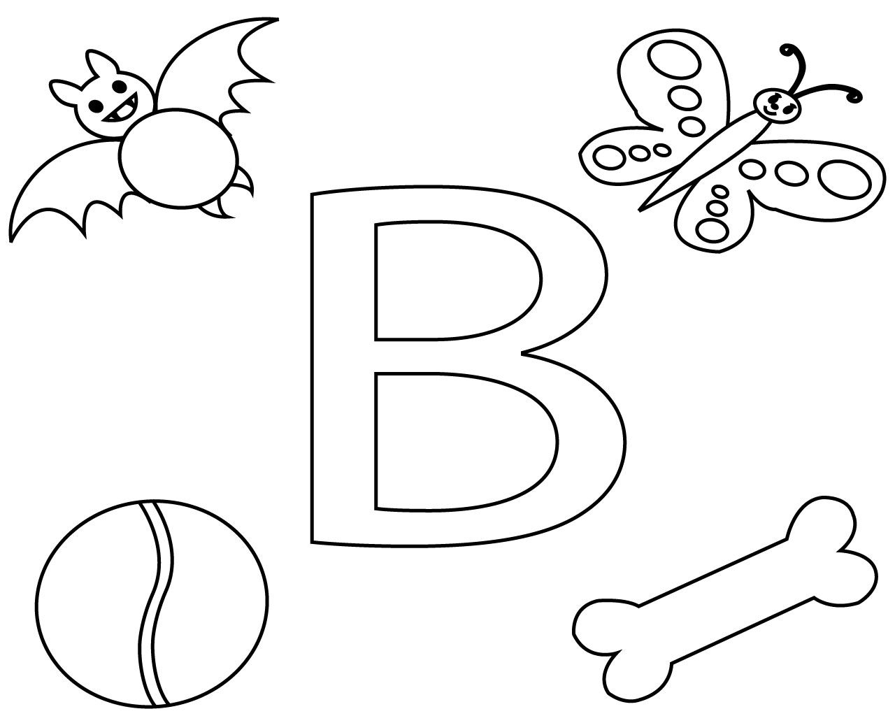 Printable Letter B Coloring Pages For Kids