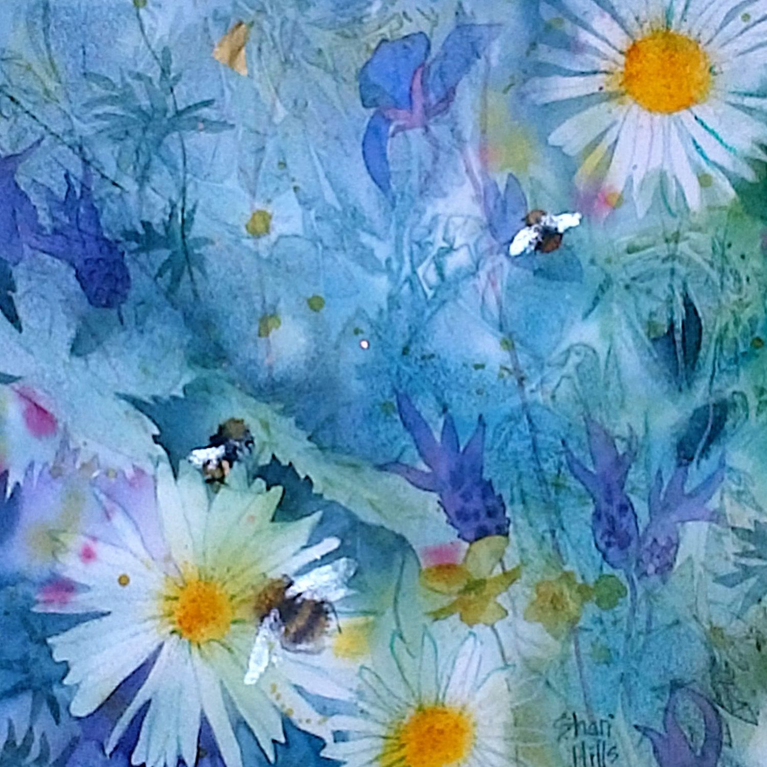 English country garden paintings - Original Watercolour Painting By Shari Hills Flowers And Bees In An English Country Garden