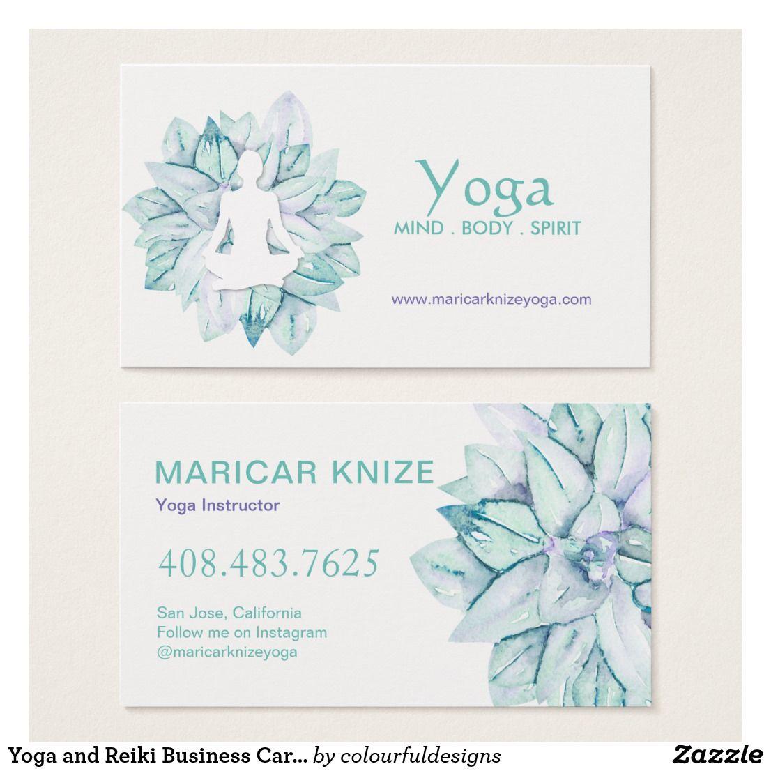 Yoga and Reiki Business Cards | yoga studio | Pinterest