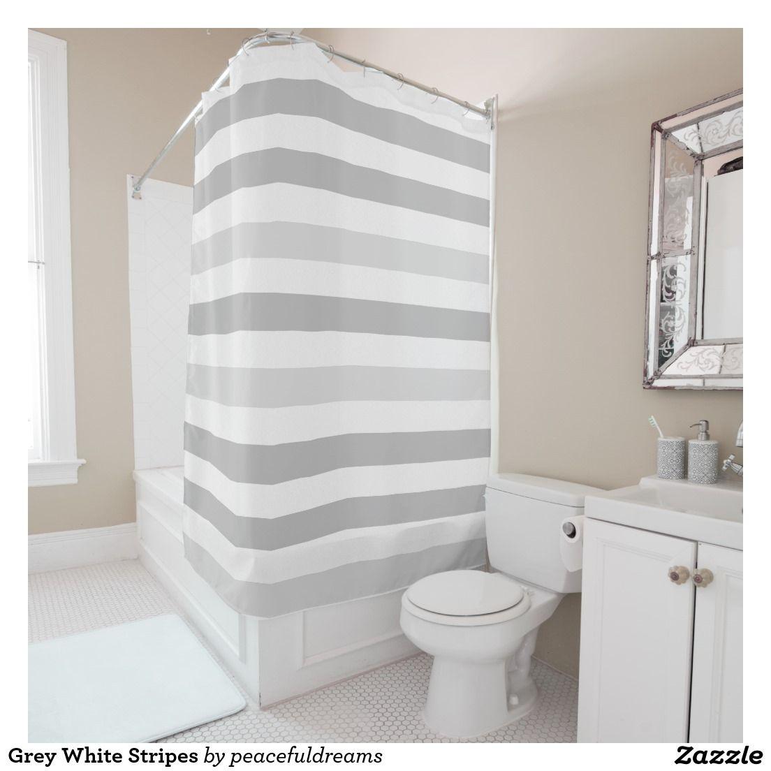 Grey And White Striped Shower Curtain. Hampton Stripe Shower ...