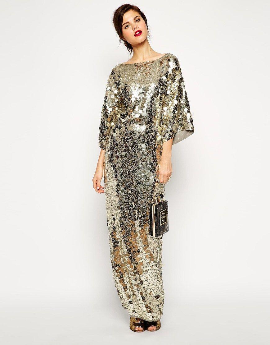 69275770900 Image 2 of ASOS RED CARPET Premium All Over Sequin Kimono Maxi Dress