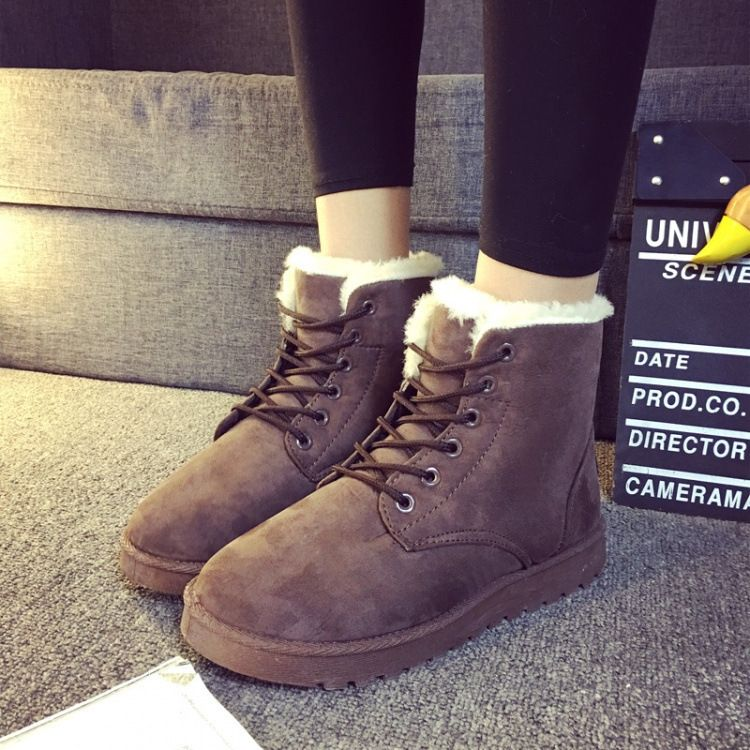 Winter Sfashion Casual Solid Color Snow Boots Women Velvet Warm Cotton Flat Martin Boots Tide Snow Boots Women Boots Womens Fashion Shoes