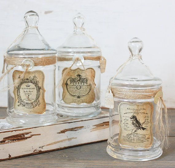 Apothecary jars-you can even decorate them on the outside as a
