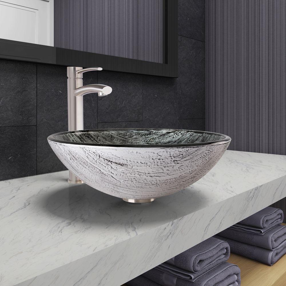 Vigo Vessel Sink in Titanium and Milo Faucet Set in Brushed Nickel ...