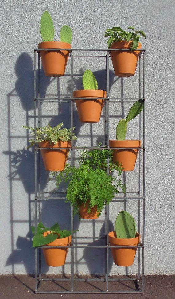 Vertical Garden Stand Modern Design With An Industrial Look Etsy Vertical Garden Garden Stand Vertical Garden Diy
