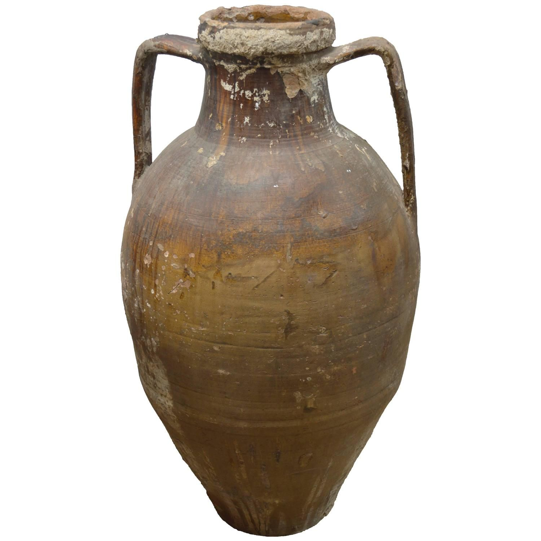 Modern Italian Garden Design: Early 20th Century Italian Terra Cotta Oil Jar, Collected