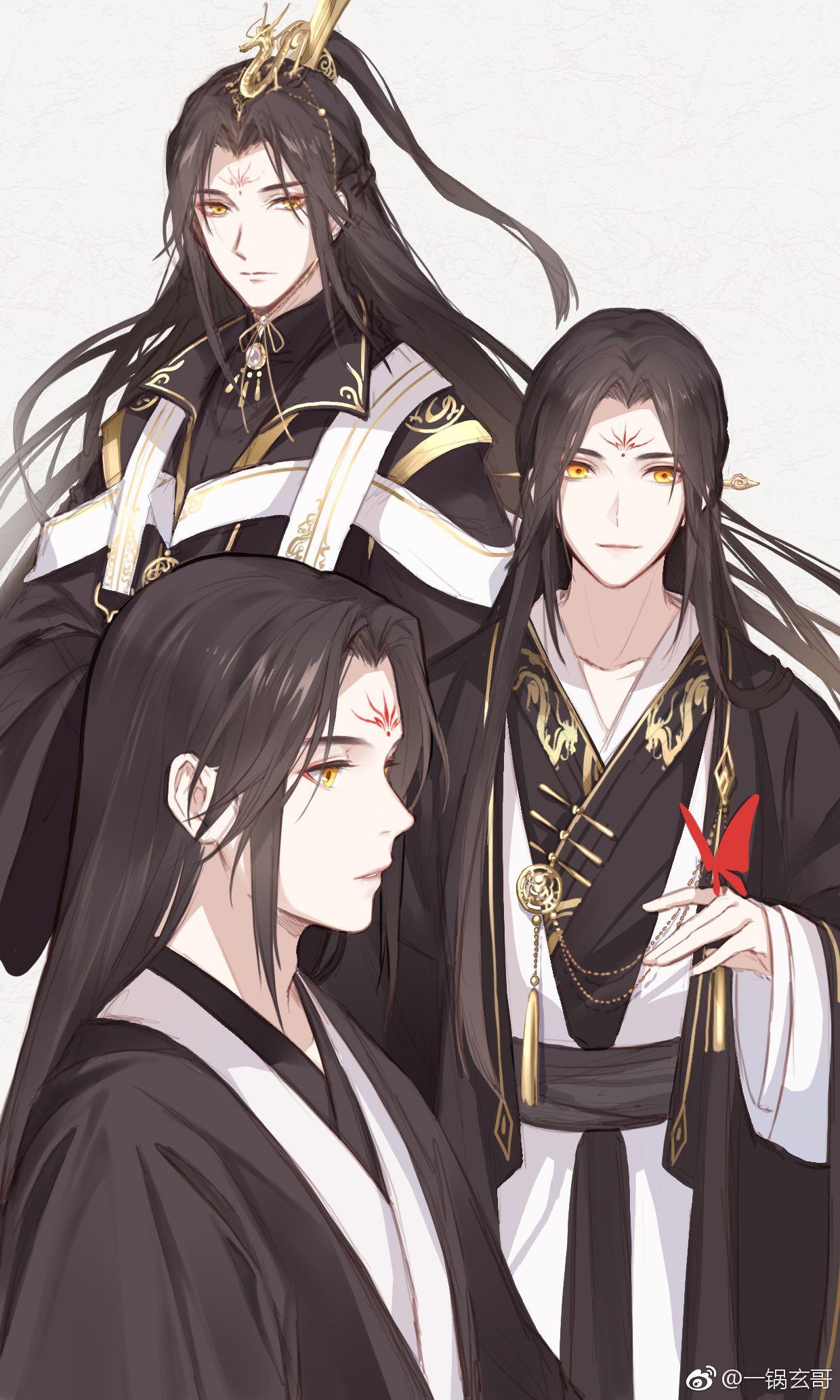 Anime Boy Male Character, Black Long Hair, Orange Yellow