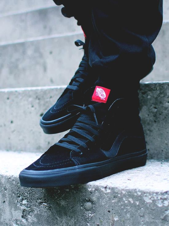 d50b568963 Sleek looking all-black Sk8-hi  vans