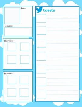 Facebook and Twitter Character Pages - blank Templates ...