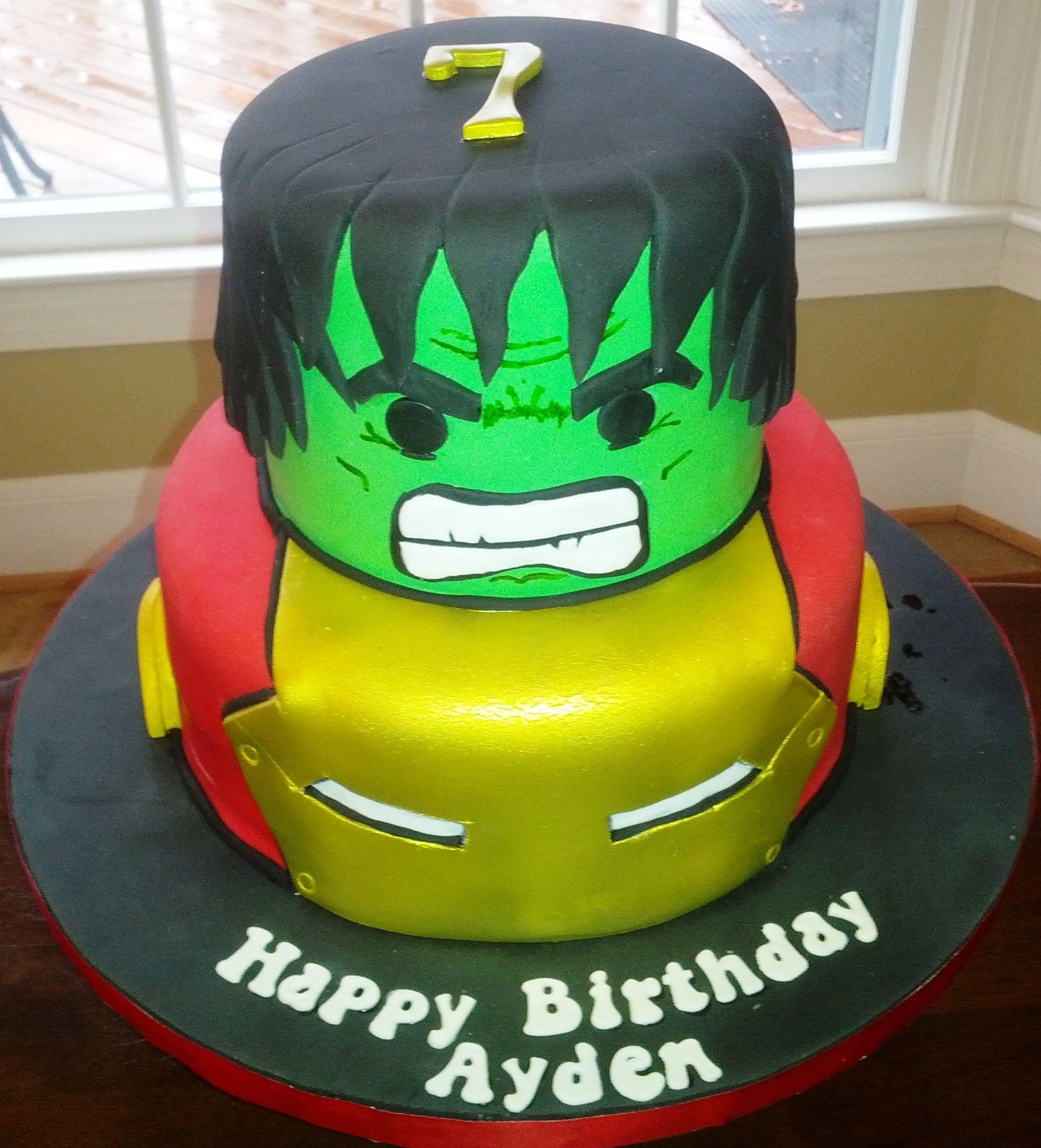 Hulk and Ironman Hulk and Iron Man cake Avengers Birthday Party