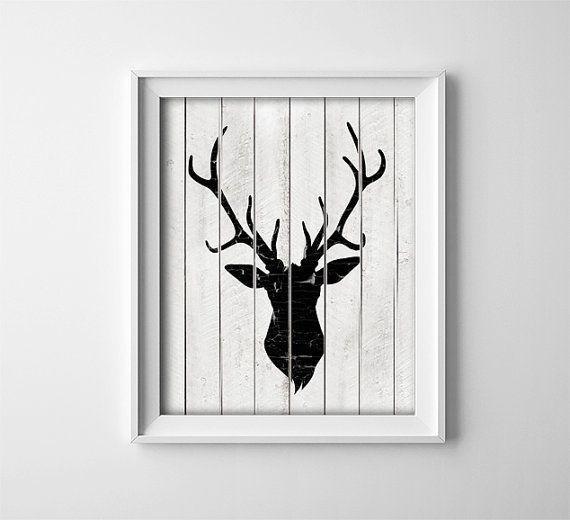 Artikel ähnlich wie Rustic Deer Art Printable - Deer Head Silhouette - Rustic Nursery Art - Schwarz und Weiß - Babypartygeschenk - Woodland Decor - SKU: 720 auf Etsy#ähnlich #art #artikel #auf #babypartygeschenk #decor #deer #etsy #nursery #printable #rustic #schwarz #silhouette #sku #und #weiß #wie #woodland