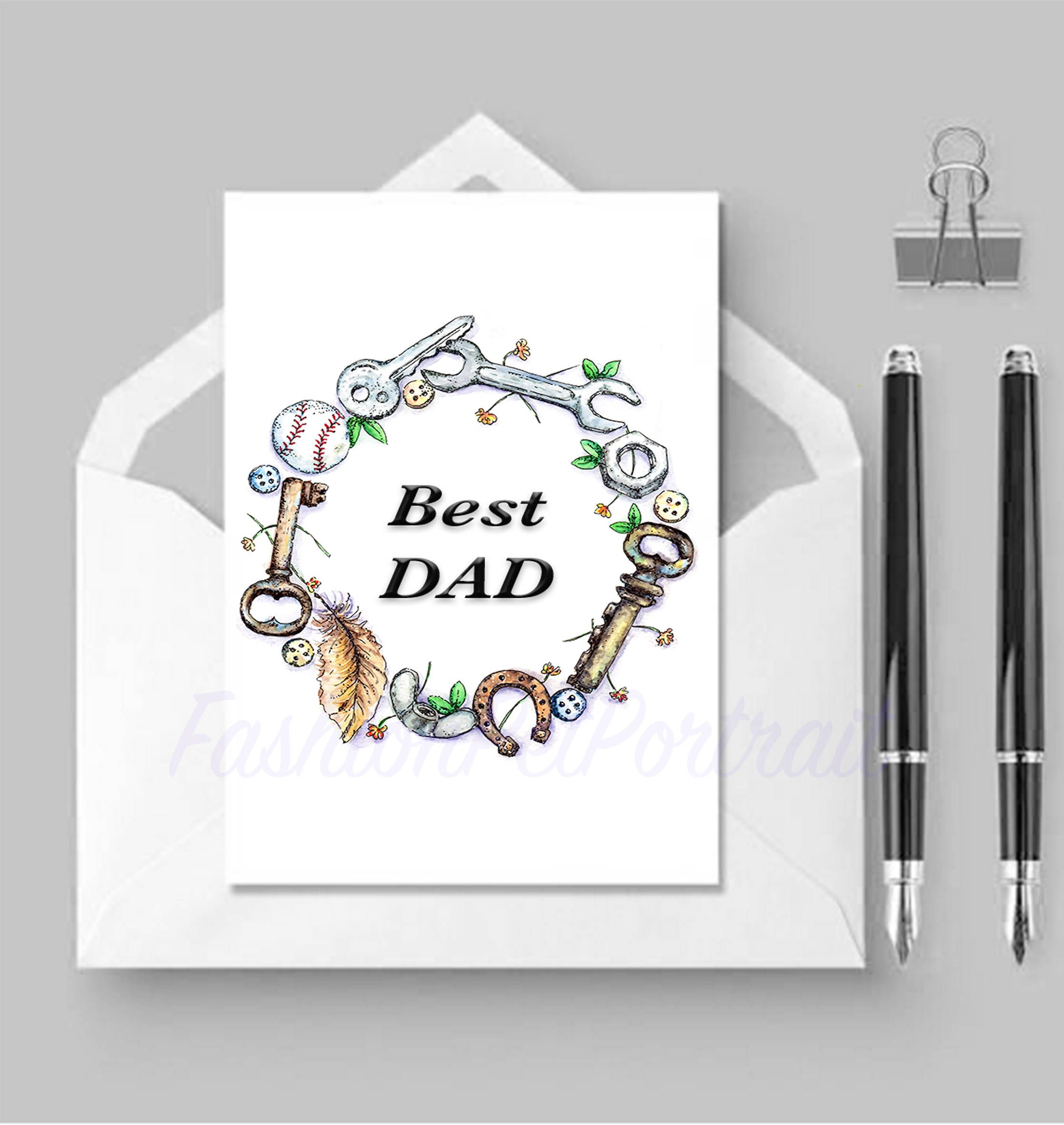 Fathers Day Card Happy For Him Men Style Key Greeting Cards Your