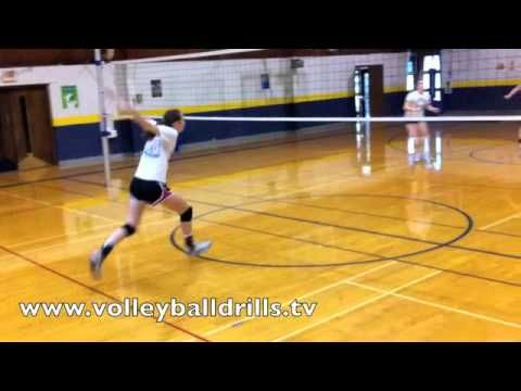 Volleyball Demo Middle Blocker Transition To Attack Volleyball Drills Volleyball Workouts Volleyball Skills
