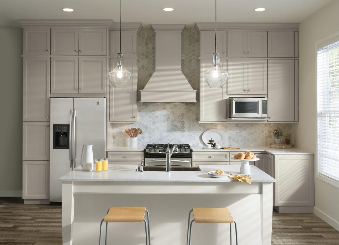 Aristokraft S Purestyle Is Available In Both White And An On Trend Glacier Gray Finish And Is Easy To Clean And C Grey Kitchen Floor New Kitchen Kitchen Design