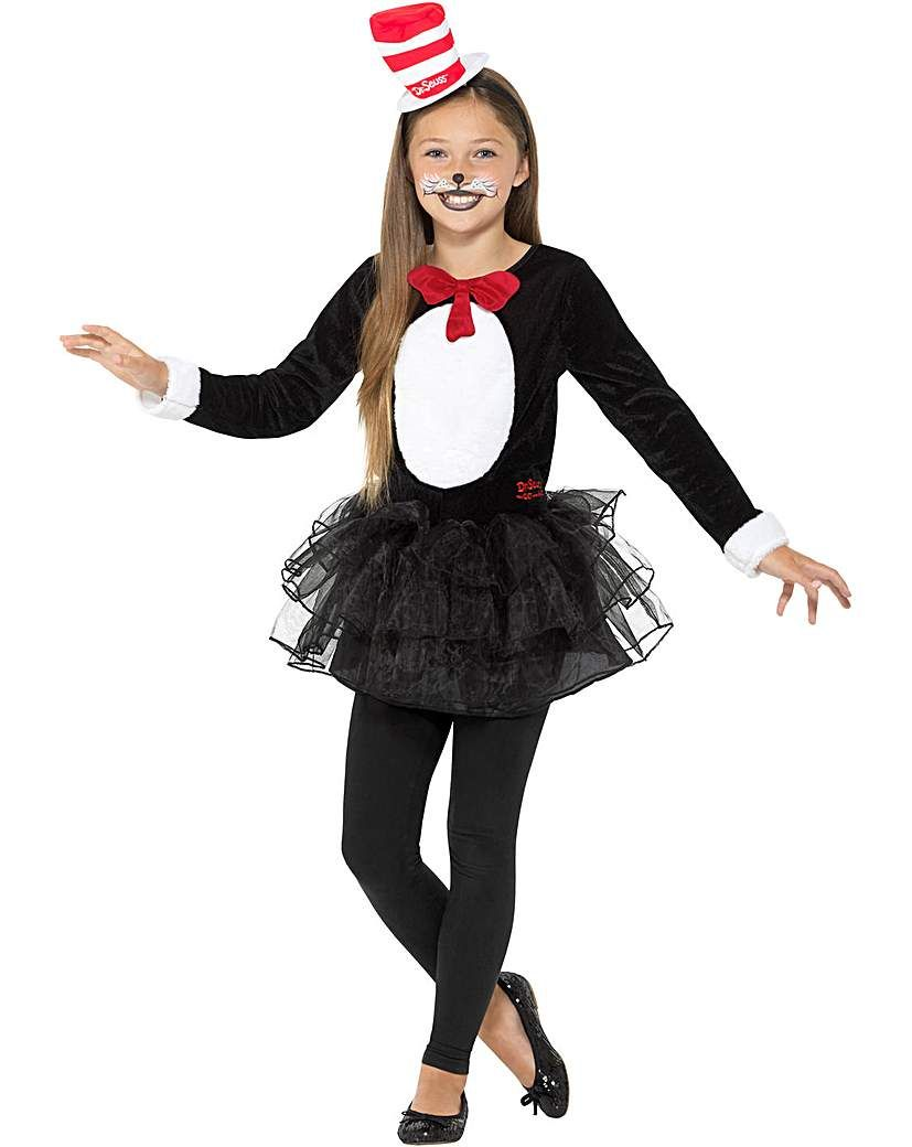 Girls Thing 1 2 Tutu Dr Seuss Cat In The Hat Book Day Fancy Dress Costume Outfit