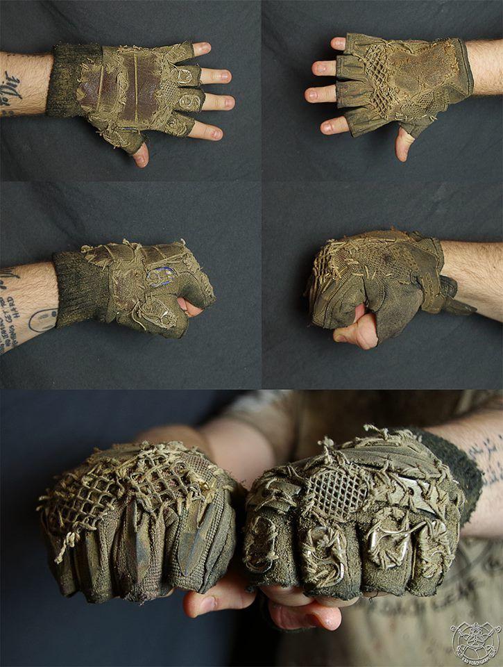 Dirty diesel punk post apocalyptic fingerless gloves or gauntlets, street fighter, urchin. 16142730_1591227934225323_4029097834098238639_n.jpg (725×960)