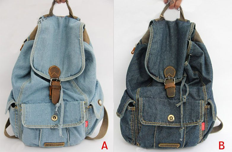 Women Girls Shopper Jeans Backpack | Totes diy | Jean ...