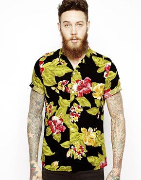 ee2a571128a Image 1 of ASOS Hawaiian Shirt In Short Sleeve With Floral Print ...