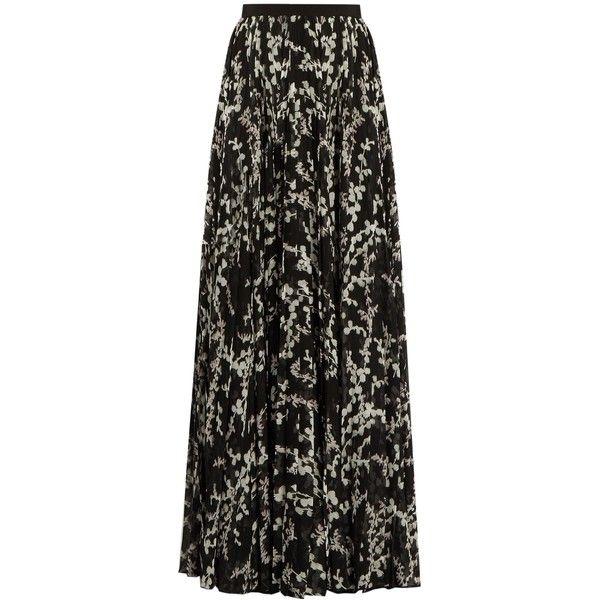 Giambattista Valli Floral-print pleated silk maxi skirt (196.030 RUB) ❤ liked on Polyvore featuring skirts, black multi, long silk skirt, floor length skirts, silk maxi skirt, pleated skirt and floral maxi skirt