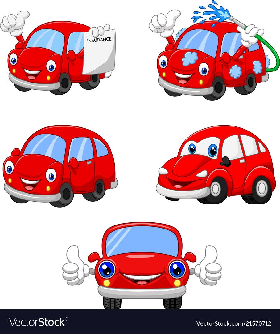 Cartoon Funny Red Cars Collection Vector Image On Car