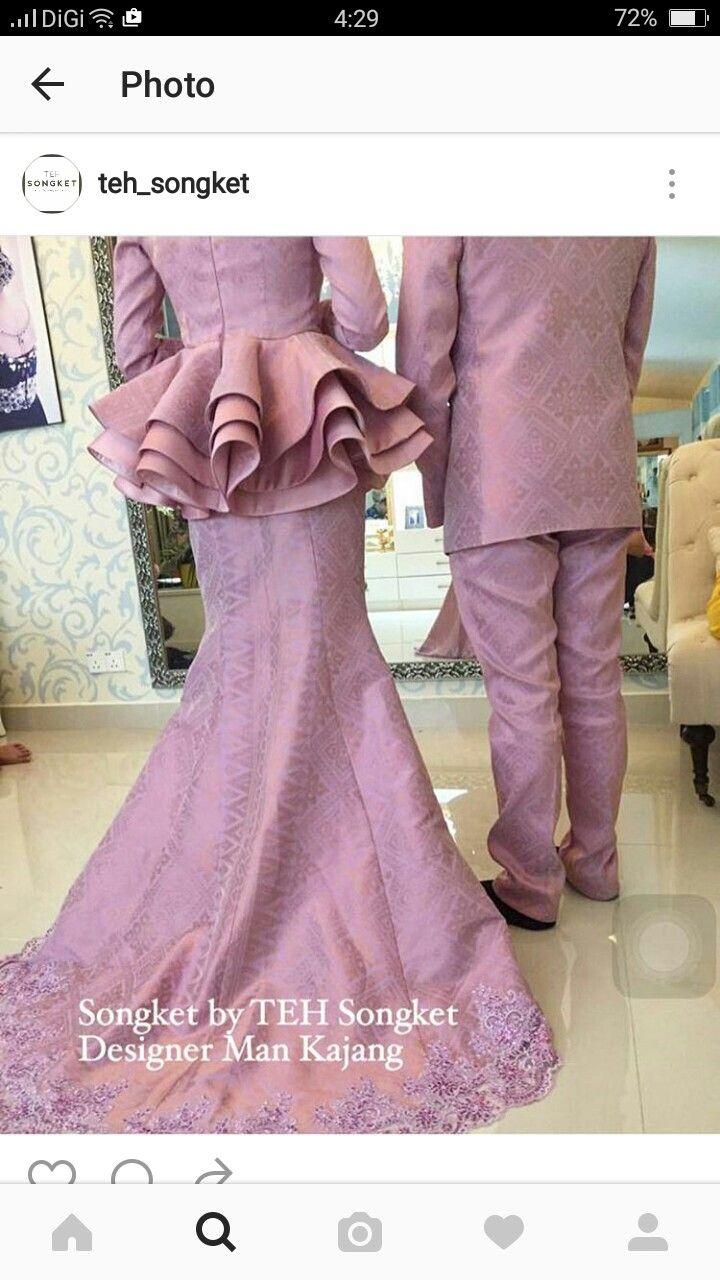 Peplum songket  Gaun peplum, Gaun pengantin, Baju pengantin