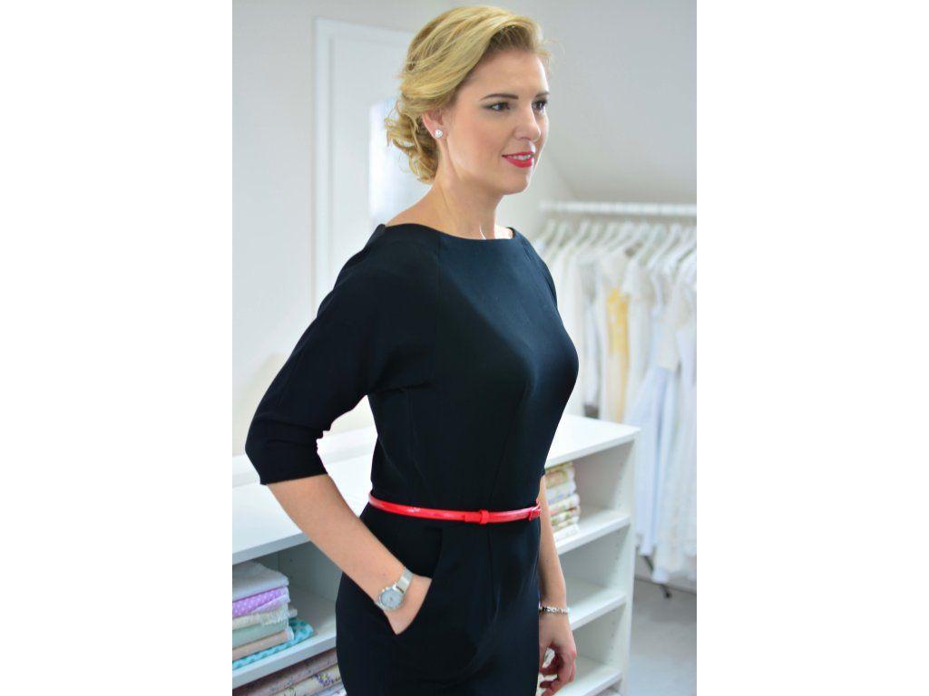 e929cf1d73bf Černé pouzdrové business šaty elegantní šaty s raglánovými rukávy širší  lodičkový výstřih 3 4 rukávy