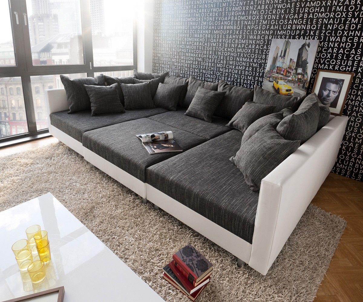 Wohnlandschaft clovis weiss schwarz modular mit hocker clovis die kuschelcouch zum verlieben - Wohnzimmer couch xxl ...