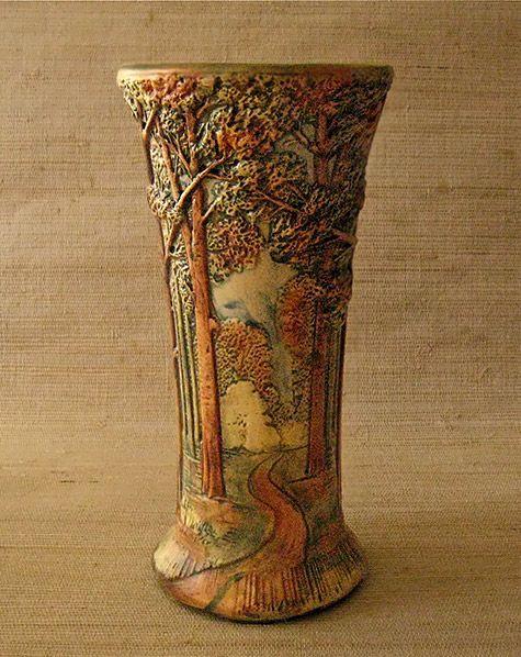 "475px-598px-WELLER ART POTTERYVintage large vase "" Treespath ""  Rudolph Lorber  Weller Pottery,  USA"