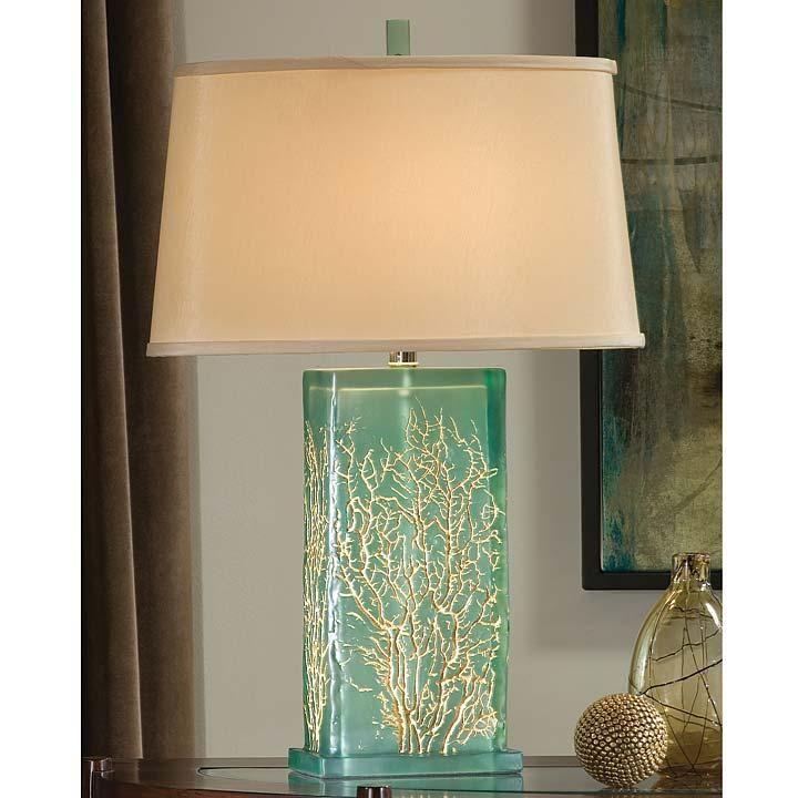 Beautiful Translucent Inch Tall Aqua Lamp With Gold Sea Fan Design From  Regina Andrew.