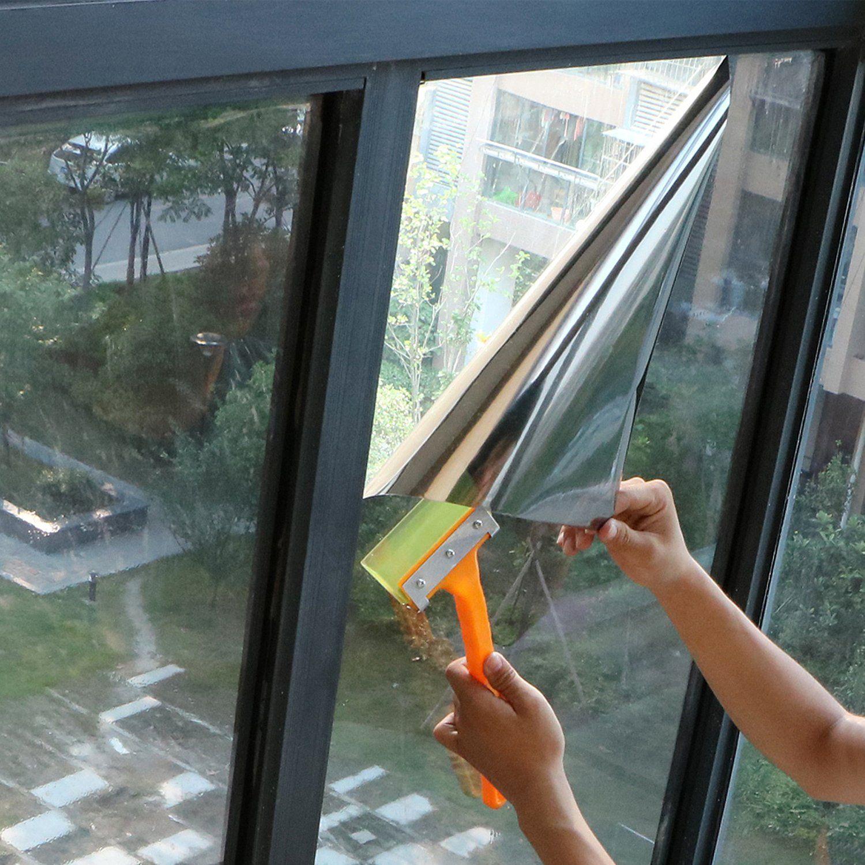 Window Film One Way Mirror Film Daytime Privacy Static Nonadhesive