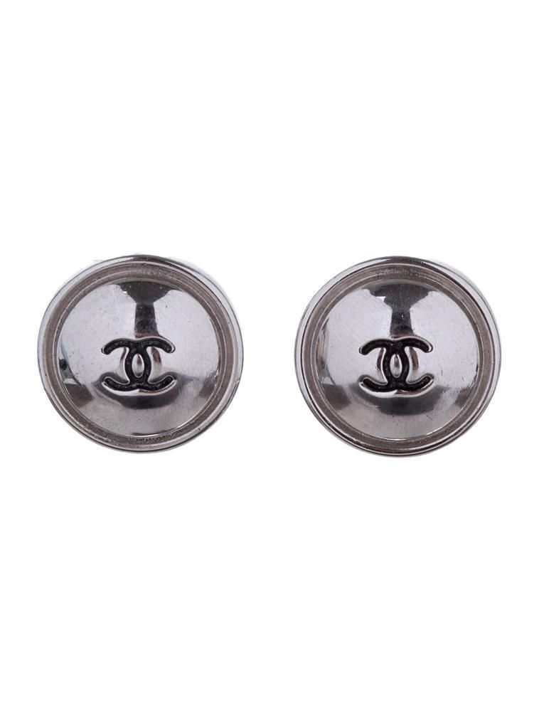 Authentic Classic Chanel Sterling Silver Post Earrings #Chanel #Post