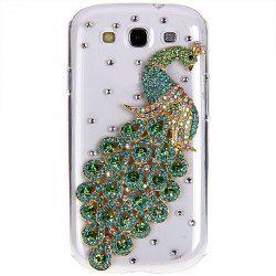 Fashion Rhinestones 3D Green Peacock Design Clear Plastic