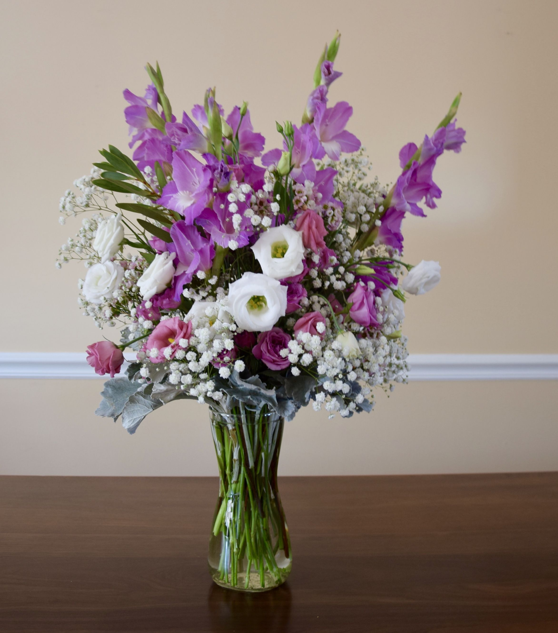 Flower bouquet for easter with gladiolas lisianthus spray roses flower bouquet for easter with gladiolas lisianthus spray roses baby breath and dusty izmirmasajfo