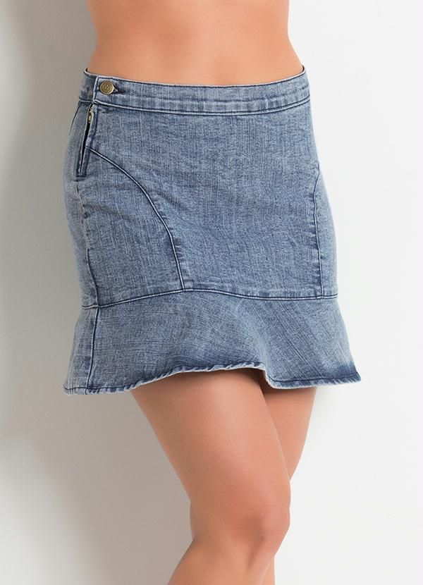 Saia jeans com babado Macacão Vermelho c01f50aced7