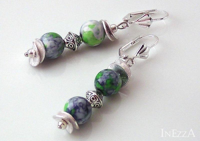 Ohrhänger Achat blau grün weiss Ohrringe von INEZZA  -  Geschenkestübchen auf DaWanda.com
