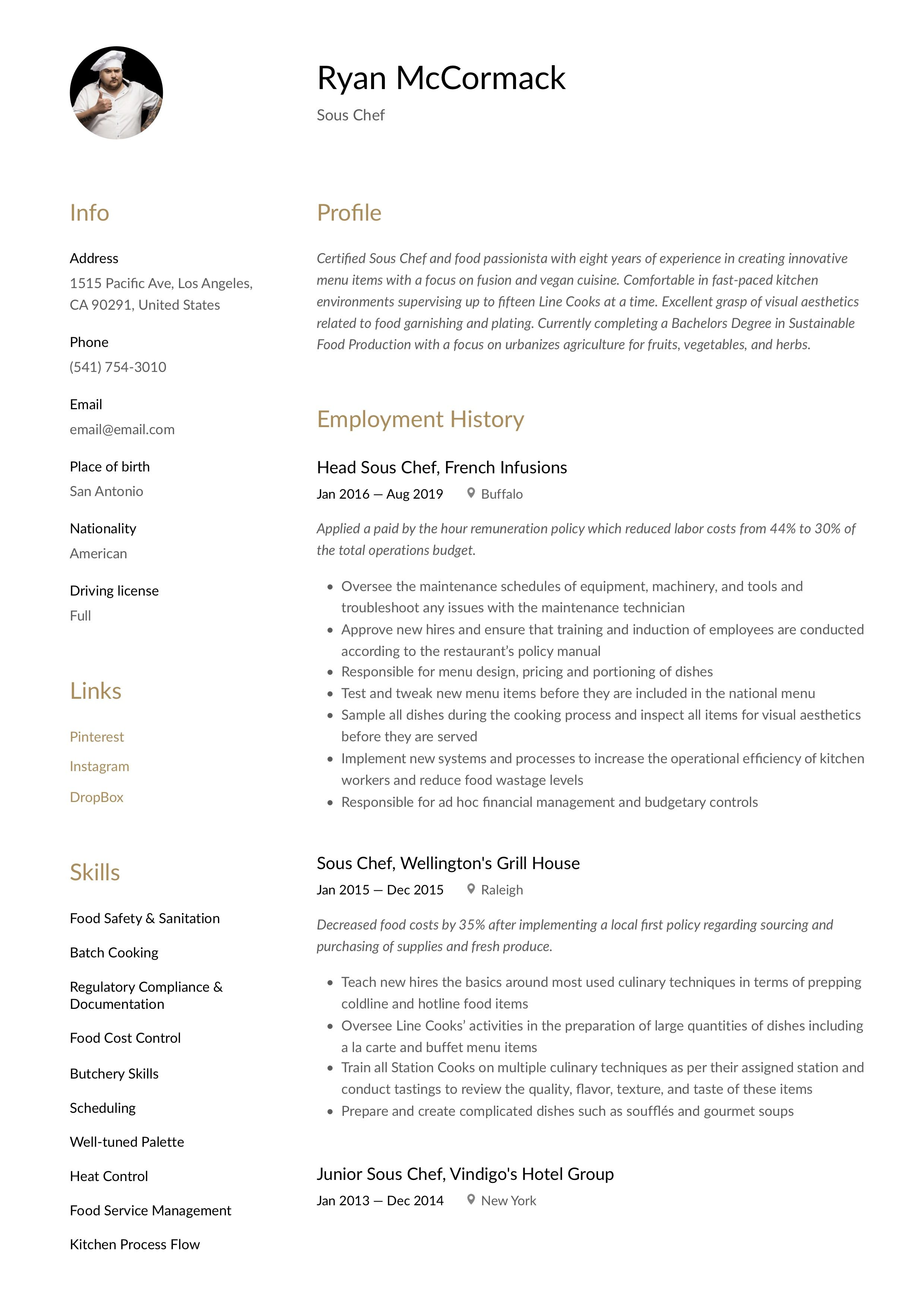 Sous Chef Resume Template Chef Resume Resume Template Resume