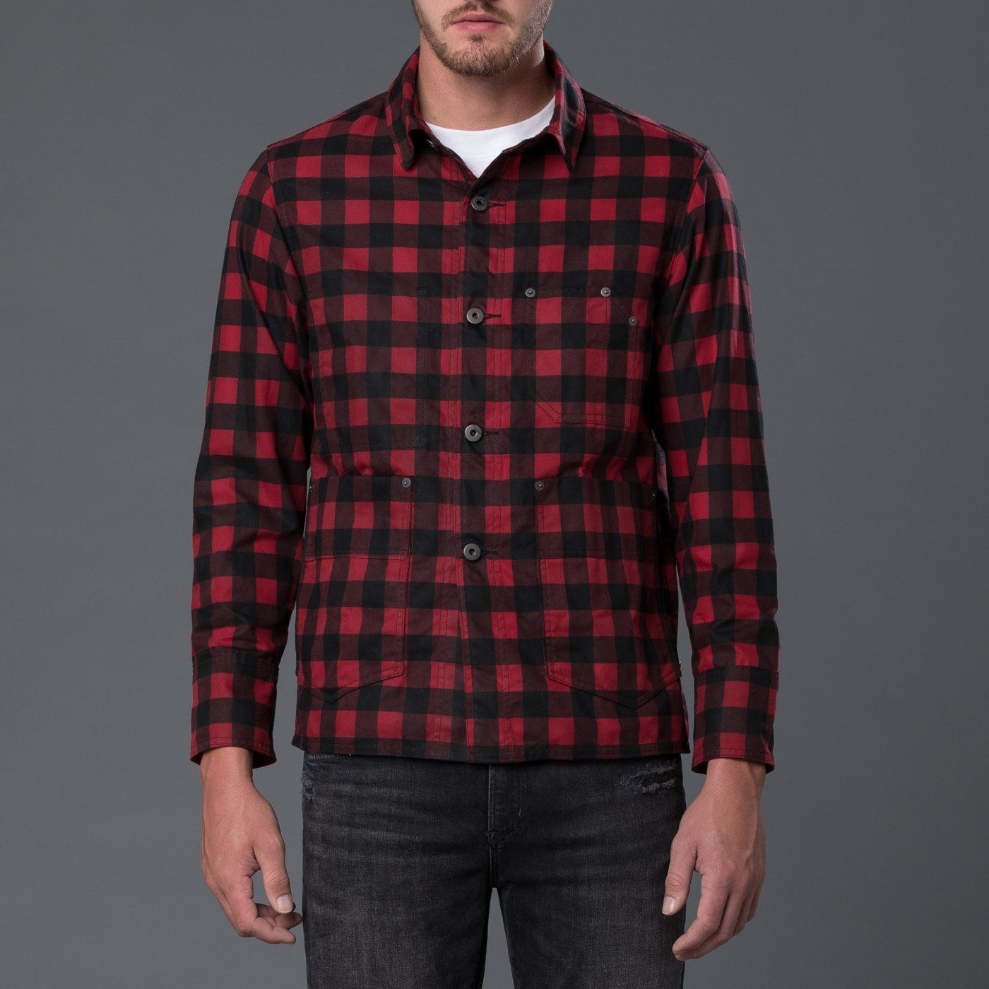 Red Plaid Waxed Cotton Chore Jacket Chore jacket