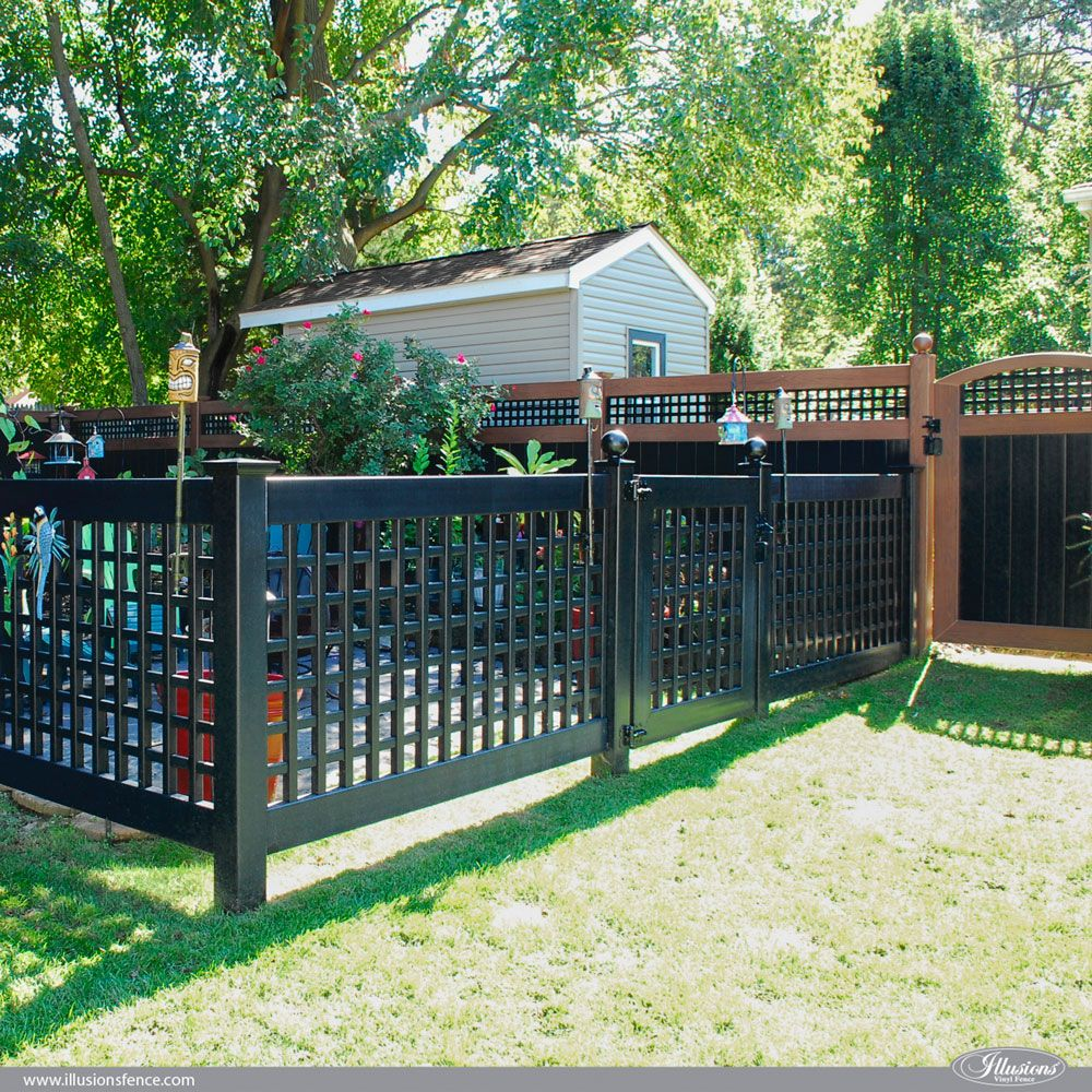 Incredible Black Pvc Vinyl Lattice Garden Fence And Gate From Illusions Vinyl Fence Gardenideas Homedecor In 2020 White Garden Fence Black Garden Fence Vinyl Fence