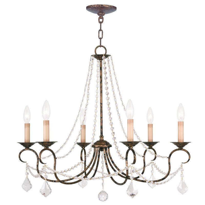 Livex Lighting 6516 Pennington 6 Light 1 Tier Chandelier With Crystal Accents Venetian Golden Bronze Indoor