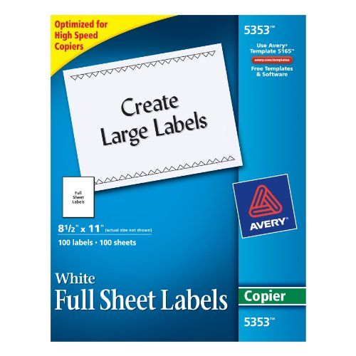 Avery Full Sheet Shipping Labels For Copiers 8 5 X 11 Inches White Box Of 100 5353 Avery Sheet Labels Avery Shipping Labels Labels