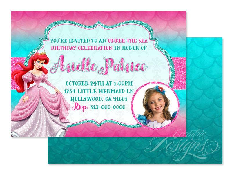 The Little Mermaid (Princess Ariel) - Digital (Glitter) Birthday Party Invitation / Child Party Ideas / Children Party Themes / Children Invites / Children Invitations / Kid Party Ideas / Kid Invitations