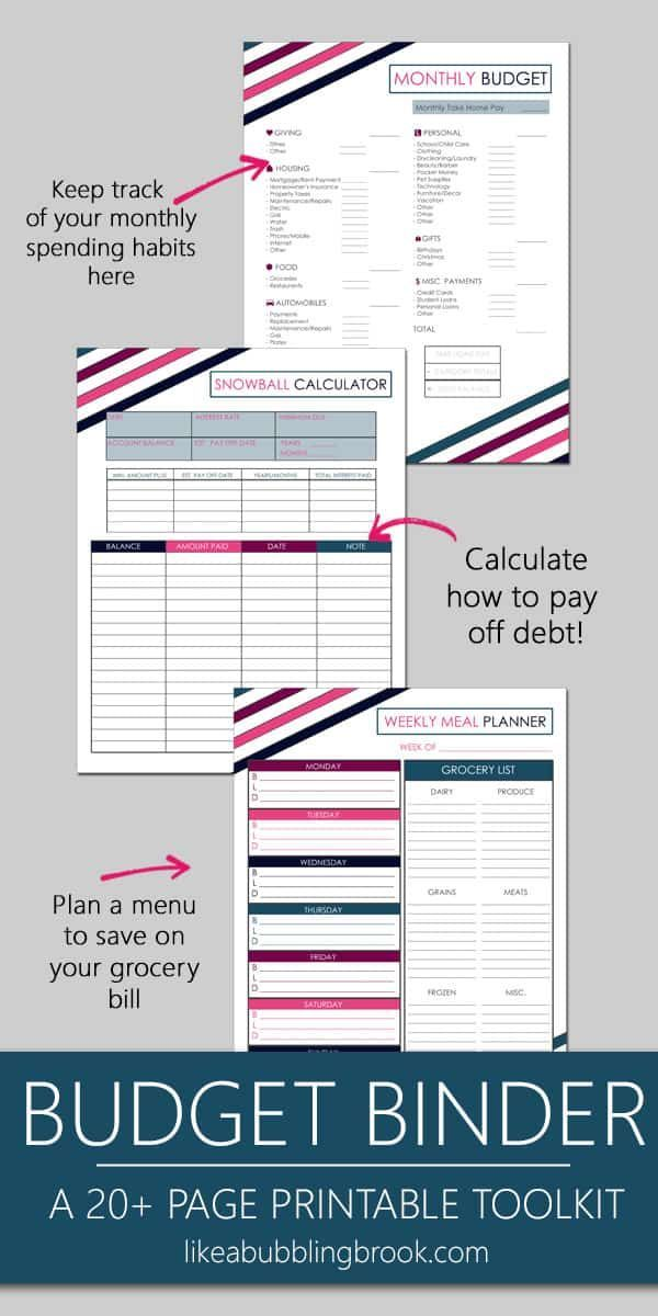 Ultimate Printable Budget Binder Toolkit in Berry Stripe | Bubbling Brook Budgets